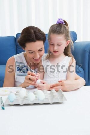 Moeder dochter lezing verhalenboek bed huis Stockfoto © wavebreak_media