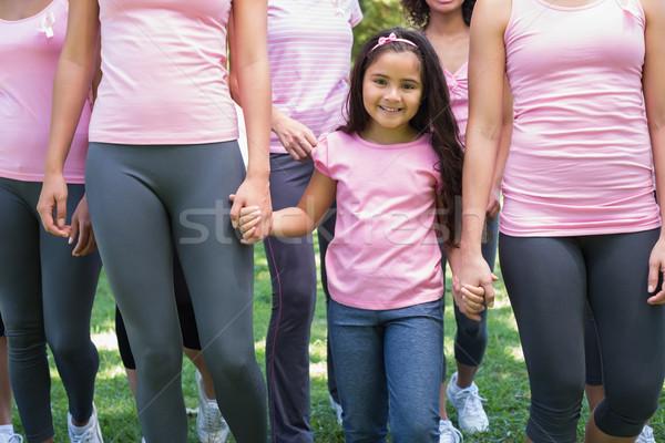 Vrijwilligers borstkanker campagne groep vrouwelijke park Stockfoto © wavebreak_media