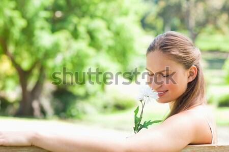 Sportos nő namaste pozició park oldalnézet Stock fotó © wavebreak_media