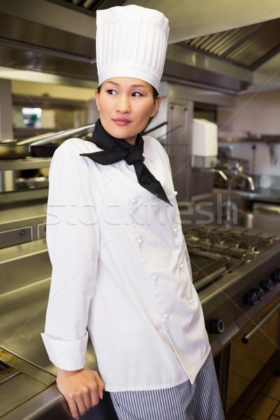 Zdjęcia stock: Widok · z · boku · zamyślony · kobiet · gotować · kuchnia · stałego