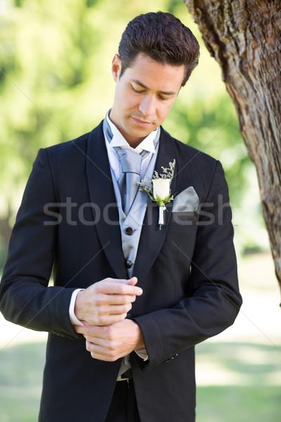 Pan młody rękaw ogród młodych przystojny człowiek Zdjęcia stock © wavebreak_media