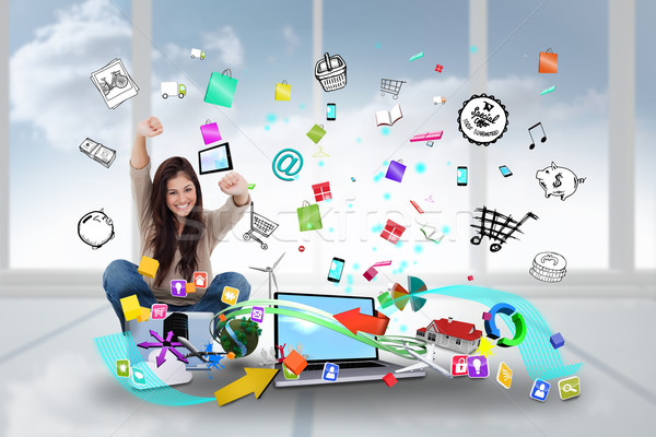 éljenez lány laptopot használ app ikonok digitális kompozit Stock fotó © wavebreak_media