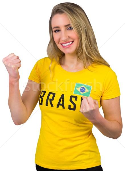 Izgatott futball ventillátor Brazília póló fehér Stock fotó © wavebreak_media
