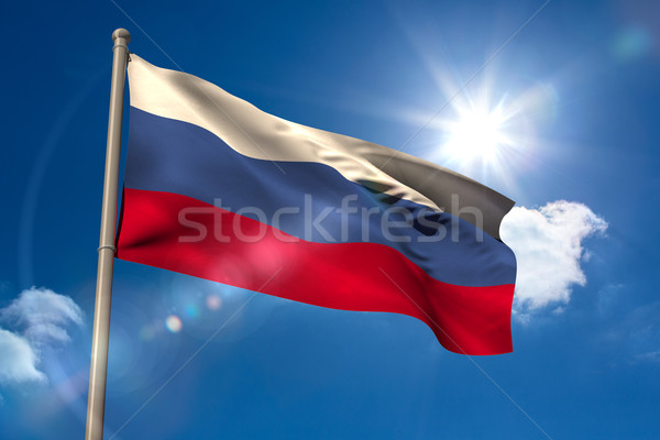 Россия флаг флагшток Blue Sky солнце свет Сток-фото © wavebreak_media