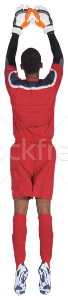 Doelverdediger Rood opslaan witte voetbal Stockfoto © wavebreak_media