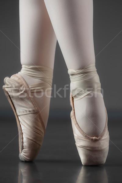 Ballerina áll balett házi cipők stúdió nő Stock fotó © wavebreak_media