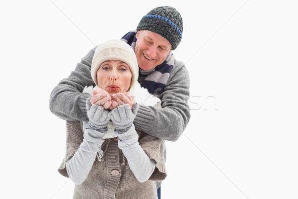 счастливым зрелый пару зима одежды белый Сток-фото © wavebreak_media