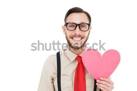 ヒップスター 笑みを浮かべて 中心 カード 白 ストックフォト © wavebreak_media