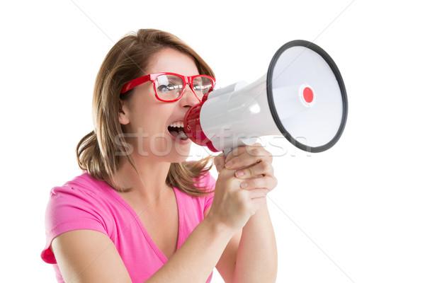 Közelkép fiatal nő kiált beszél női izolált Stock fotó © wavebreak_media