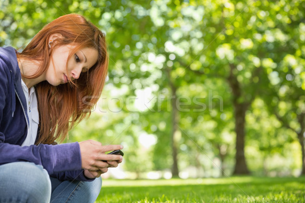 Pretty redhead relaxing in the park sending a text Stock photo © wavebreak_media