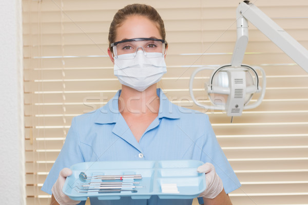 Tandheelkundige assistent Blauw dienblad tools Stockfoto © wavebreak_media