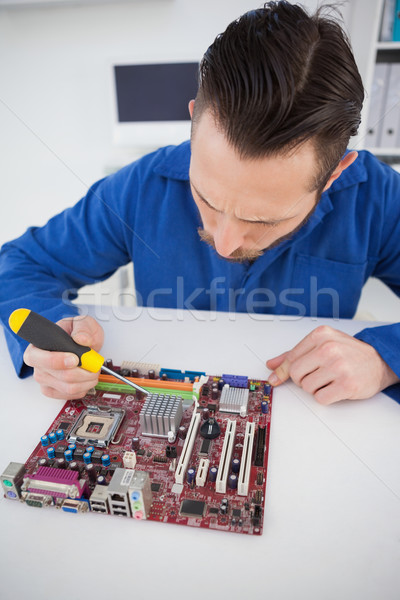 Computer engineer working on cpu with screwdriver Stock photo © wavebreak_media