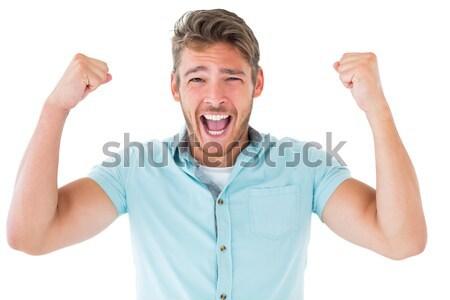 Yakışıklı genç kamera beyaz mutlu Stok fotoğraf © wavebreak_media