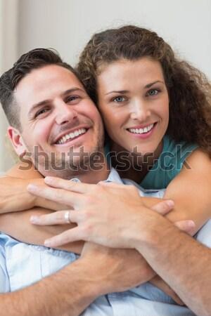 Personal trainer cliënt glimlachend camera oefening bal Stockfoto © wavebreak_media