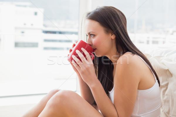 Mooie brunette vergadering vloer mok home Stockfoto © wavebreak_media