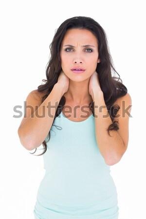 Csinos barna hajú sebes nyak fehér test Stock fotó © wavebreak_media
