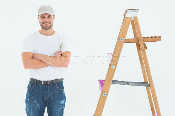 счастливым человека краской Постоянный лестнице Сток-фото © wavebreak_media