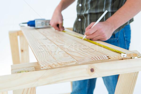Foto d'archivio: Falegname · nastro · di · misura · legno · immagine · bianco