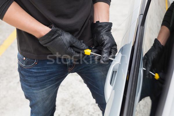 Tolvaj autó csavarhúzó férfi biztosítás kesztyű Stock fotó © wavebreak_media