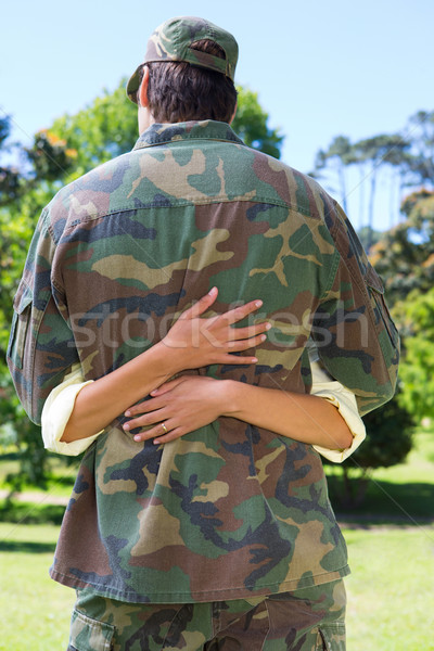 Handsome soldier reunited with partner Stock photo © wavebreak_media