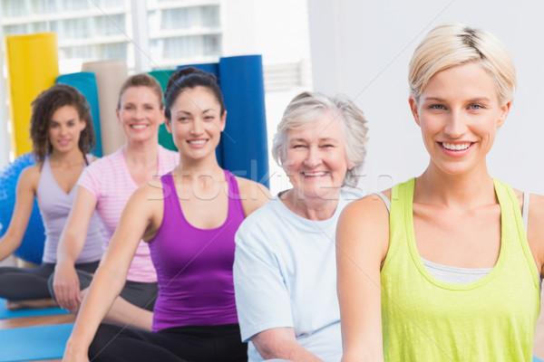 Photo stock: Femmes · yoga · fitness · classe · portrait