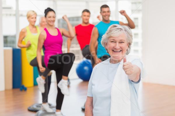 Stok fotoğraf: Mutlu · kıdemli · kadın · spor · salonu