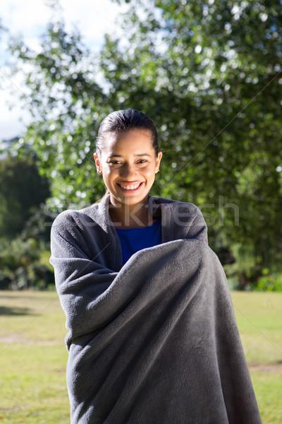 Csinos nő pléd napos idő boldog természet nyár Stock fotó © wavebreak_media