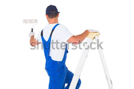 Ezermester mászik létra festék hátsó nézet férfi Stock fotó © wavebreak_media