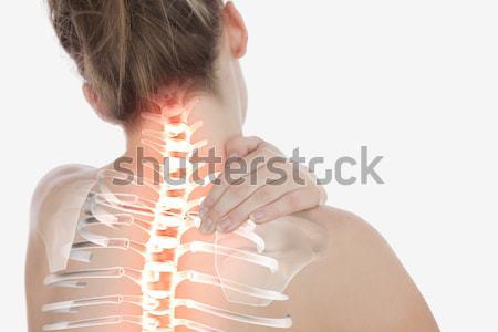 Stock fotó: Gerincoszlop · nő · nyaki · fájdalom · digitális · kompozit · egészség · piros