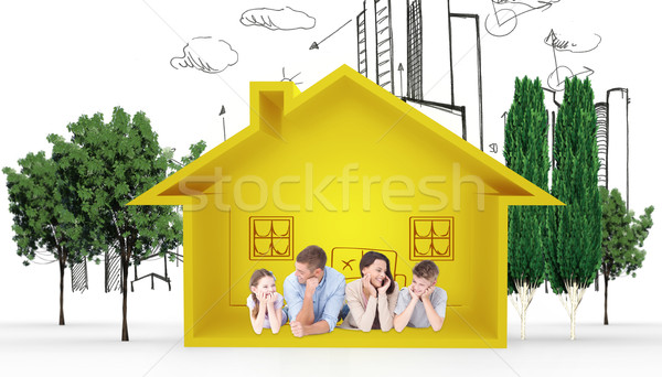 Composite image of family lying with head in hands Stock photo © wavebreak_media