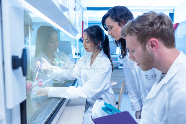 Science students using pipette in the lab Stock photo © wavebreak_media