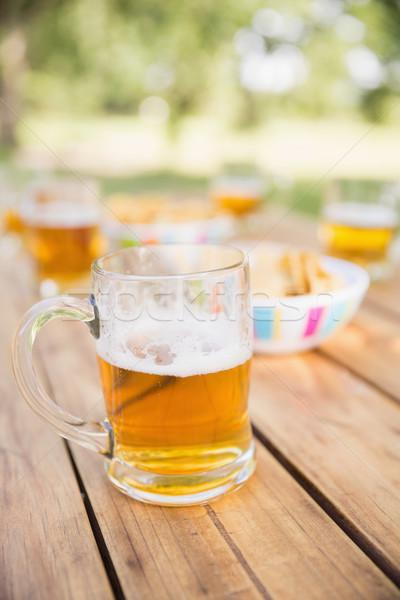 Beer and snacks on picnic table Stock photo © wavebreak_media