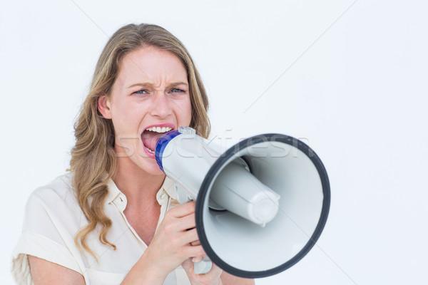 женщину белый оратора Scream Сток-фото © wavebreak_media