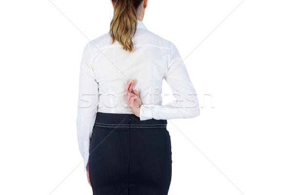 Bastante mujer de negocios dedo blanco pared mujer Foto stock © wavebreak_media