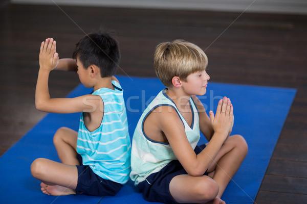 Testvérek előad jóga otthon oldalnézet gyermek Stock fotó © wavebreak_media