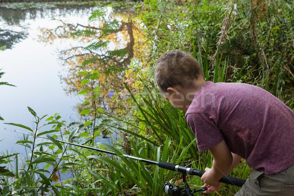мальчика рыбалки реке лес счастливым Сток-фото © wavebreak_media