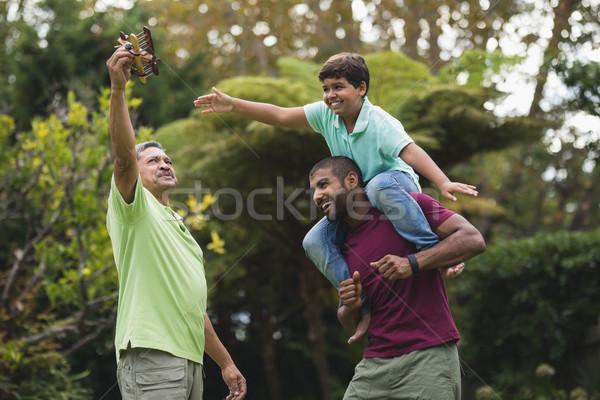 Többgenerációs család élvezi park boldog család zöld Stock fotó © wavebreak_media