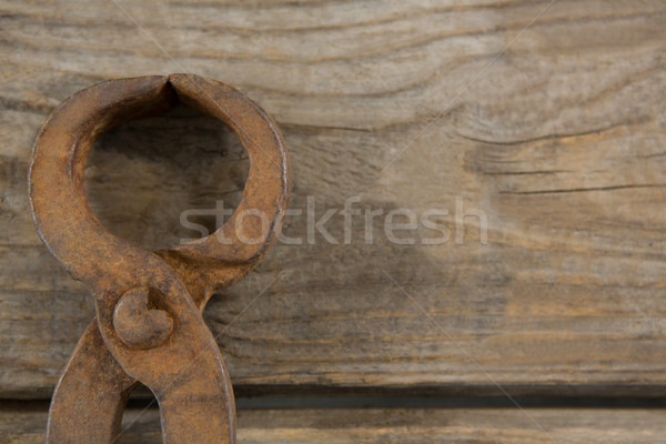 Overhead close up of wire cutter on table Stock photo © wavebreak_media