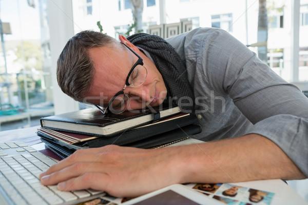 疲れ ビジネスマン 寝 ファイル スタジオ デスク ストックフォト © wavebreak_media