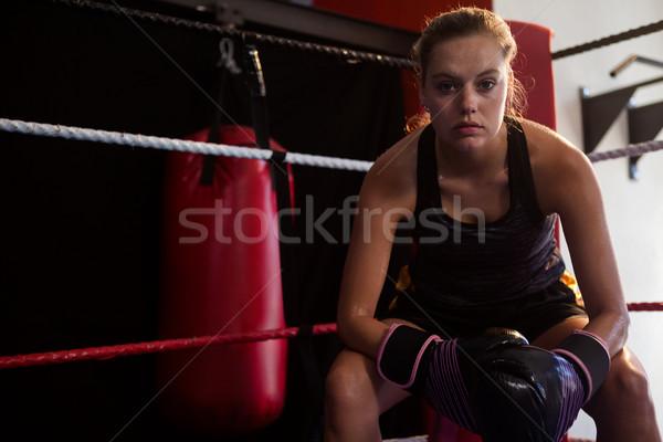 портрет женщину сидят бокса кольца фитнес Сток-фото © wavebreak_media