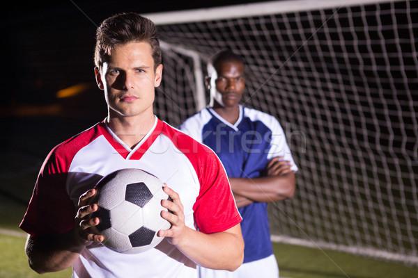 Stok fotoğraf: Portre · futbolcu · top · rakip · atlet