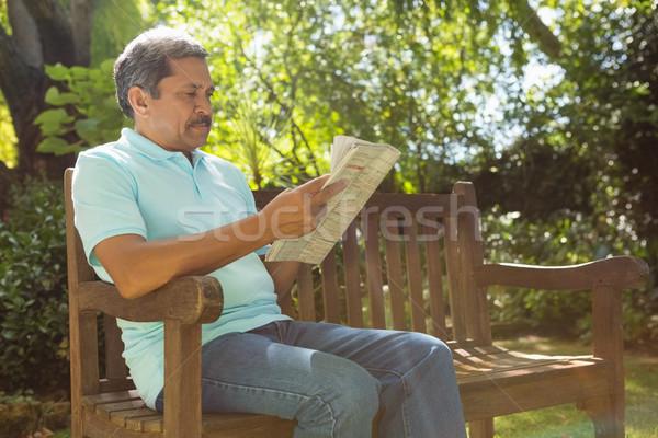 Supérieurs homme lecture journal jardin téléphone Photo stock © wavebreak_media