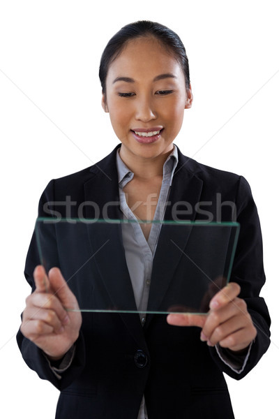 Fiatal üzletasszony tart üveg interfész áll Stock fotó © wavebreak_media