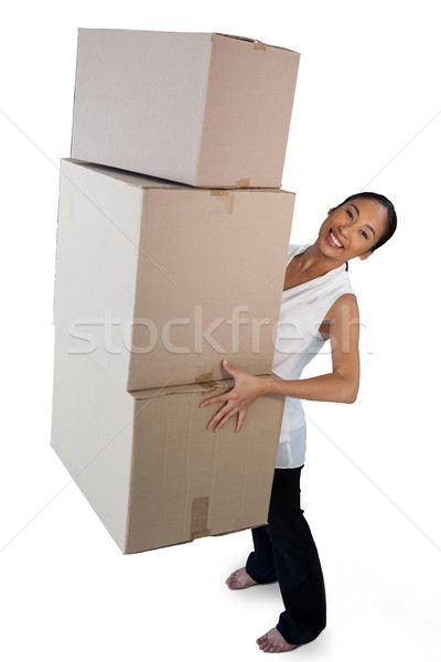Portrait souriant femme d'affaires carton Photo stock © wavebreak_media