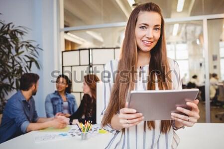Waitress holding coffee tray in outdoor cafe Stock photo © wavebreak_media
