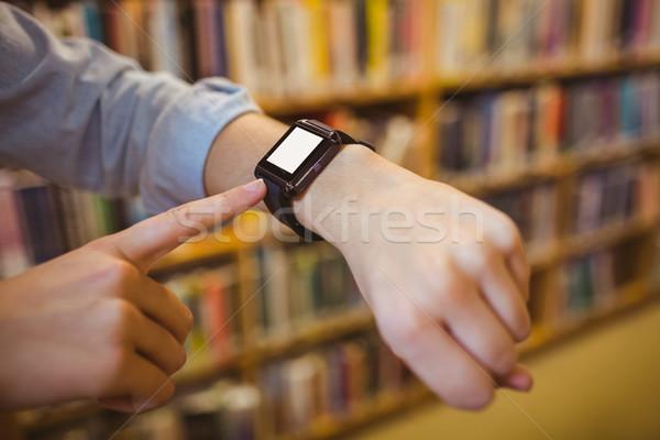 ブルネット 学生 スマート 時計 ライブラリ コンピュータ ストックフォト © wavebreak_media
