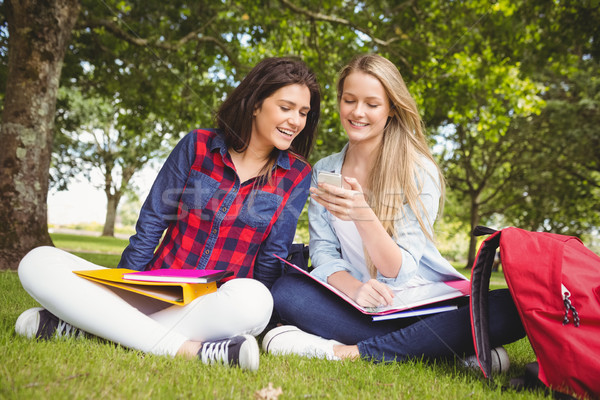 Stock photo: Smiling students using smartphone