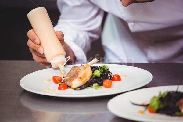 シェフ ソース 皿 商業 キッチン レストラン ストックフォト © wavebreak_media