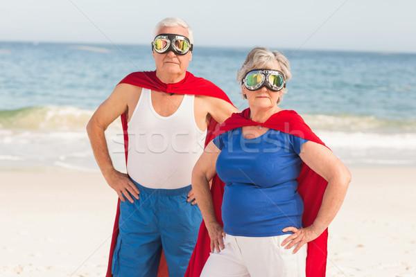 Idős pár visel jelmez napos idő nő tenger Stock fotó © wavebreak_media