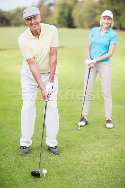 Сток-фото: портрет · человека · гольф · Постоянный · женщину